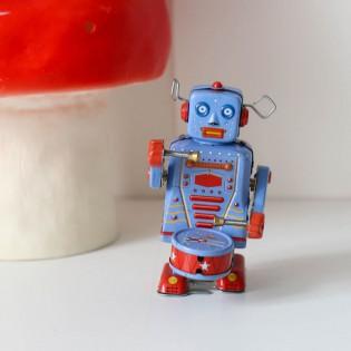 Petit Robot tambour rouge - vintage