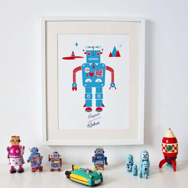 affiches posters stickers affiche robot srigraphie - Affiche Garcon Robot