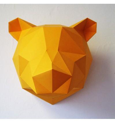 Kit de pliage papier trophée Ours jaune - Assembli