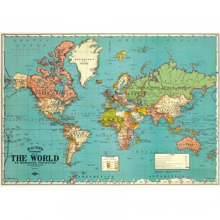 Affiche Carte du monde vintage The World bleue - Cavallini & Co