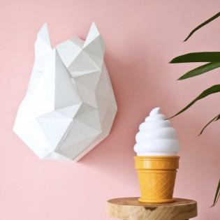 Kit de pliage papier trophée Rhinocéros blanc - Trophée assembli