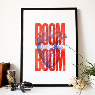 Sérigraphie Boom Boom Rouge 50x70 cm