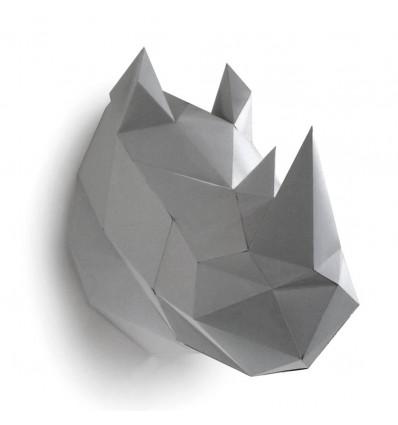 Kit de pliage papier trophée Rhinocéros gris - Assembli