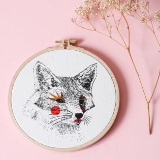 "Renard - Sérigraphie sur tambour de broderie - ""Painted Animals"""