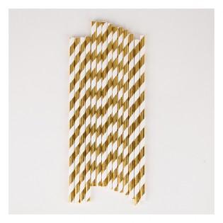 25 pailles rayures dorées métallisées
