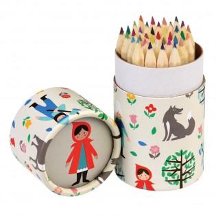 Boîte et crayons couleurs chaperon rouge