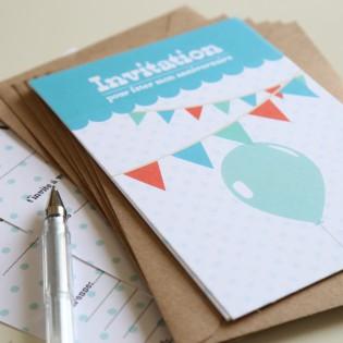 8 invitations Anniversaire (Bleu) + enveloppes