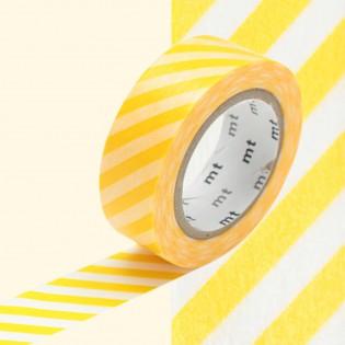Masking tape rayures jaune/ blanc
