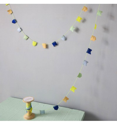 Mini guirlande Fanions bleu et jaune fluo - Meri meri