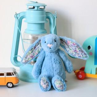 Doudou lapin aqua bleu et liberty - jellycat
