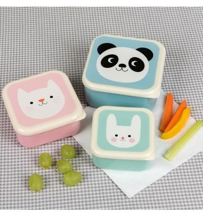 Set de 3 boîtes à pique-nique animaux pastel