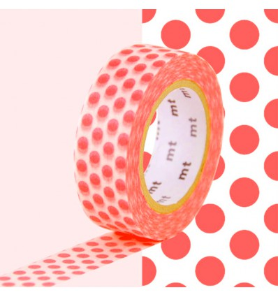 Masking tape pois corail fluo