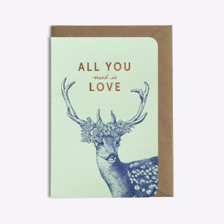 Carte Cerf All you need is love - Editions du Paon