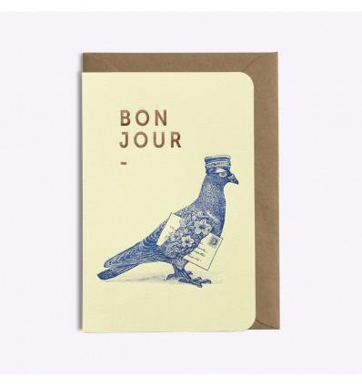 Carte Bonjour Pigeon voyageur - Editions du Paon