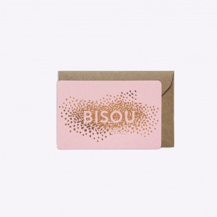 Mini carte Bisou Rose - Editions du Paon