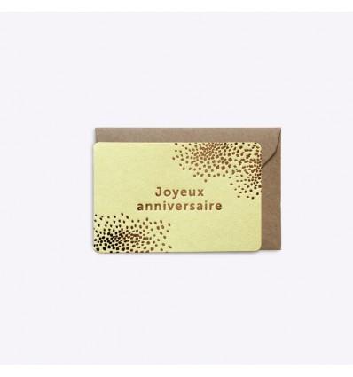 Mini carte Joyeux anniversaire jaune - Editions du Paon