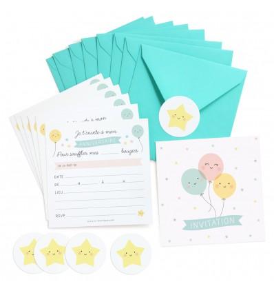 Set de 8 invitations ballons Zü (ZU)