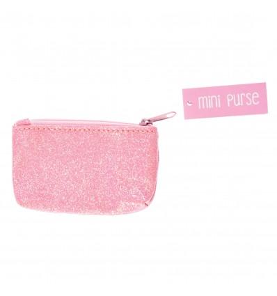 Mini porte monnaie paillettes Rose