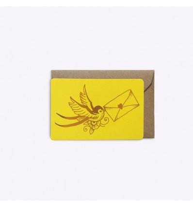 Mini carte Love Letter jaune - Editions du Paon
