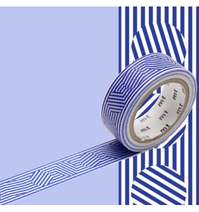Masking tape lignes et cercles bleus