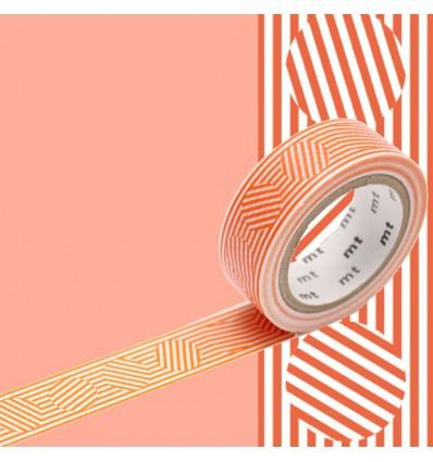 Masking tape lignes et cercles oranges