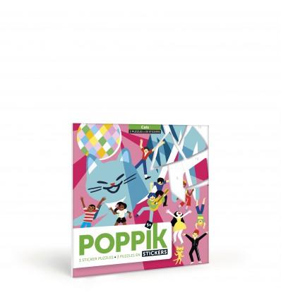 Puzzle en stickers Chats - Poppik