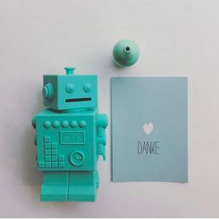 Tirelire robot turquoise en silicone - KG Design