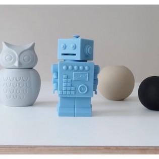 Tirelire robot bleu clair en silicone - KG Design