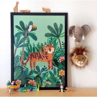 Affiche Tigre dans la jungle de Rebecca Jones