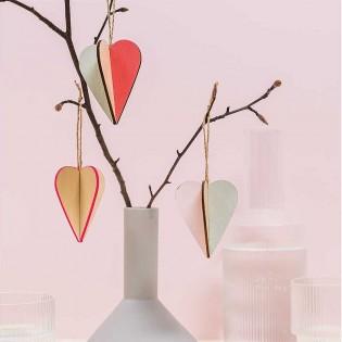 Décoration en bois Coeurs (S) - Rico Design