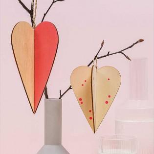 Décoration en bois Coeurs (M) - Rico Design