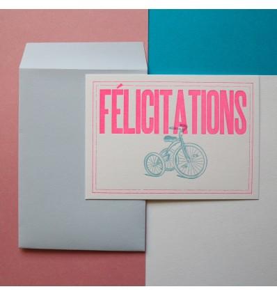 Carte Félicitations Letterpress Rose fluo