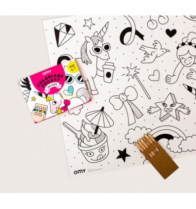 Coloriage pocket Licorne - OMY
