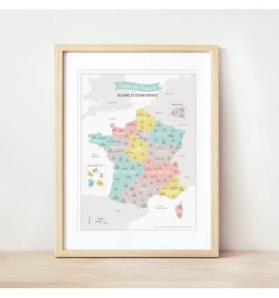 Affiche Carte de France Nouvelles Régions - Zü (ZU)