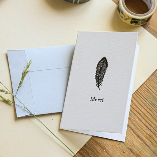 Mini carte double Merci Plume
