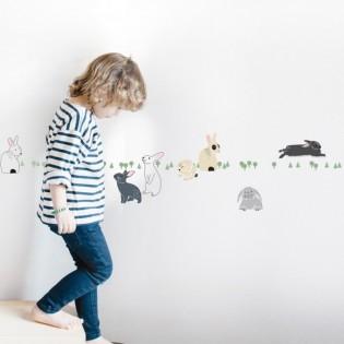 Stickers frise Lapins dans la forêt - Mimilou