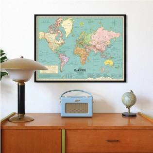 Carte du monde 2020 - Style vintage