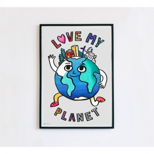 Poster à colorier LOVE MY PLANET - Omy