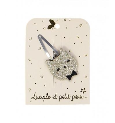 Barrette Chat or - Luciole et Petit Pois