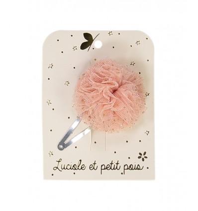 Barrette Pompon Tulle Rose - Luciole et Petit Pois