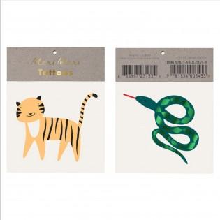 Tatouages éphémères Tigre et Serpent - Meri Meri