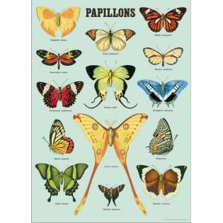 Affiche Papillons Fond Bleu - Cavallini & Co