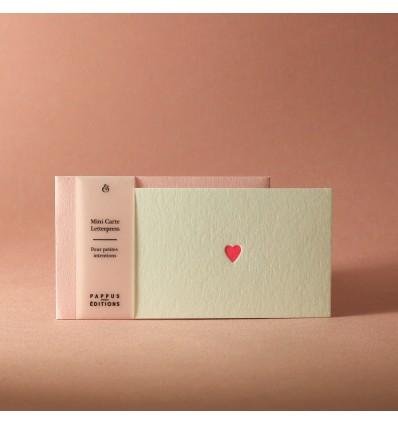 Mini carte coeur rose - Pappus Editions
