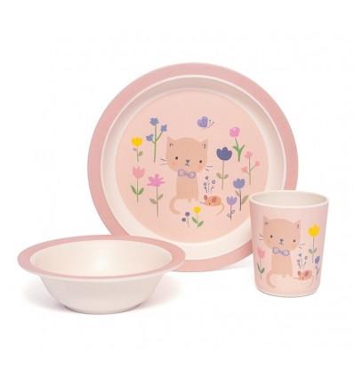 Set vaisselle bambou Chat - Petit Monkey