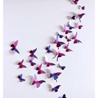 Kit de pliage papier de 28 papillons violets - Assembli