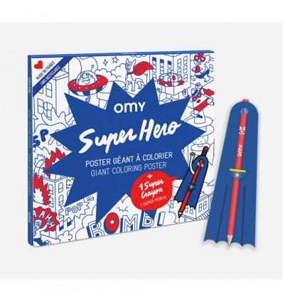Poster Super Héros à colorier + crayon - Omy