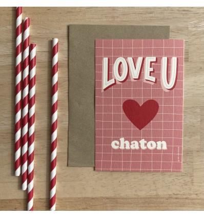Carte Love You Chaton - Cité Candide