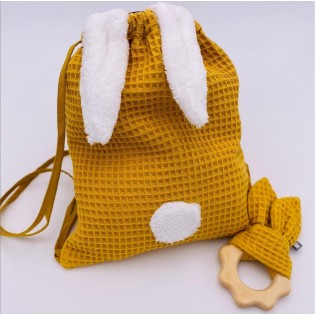 Sac lapin nid d'abeille Moutarde