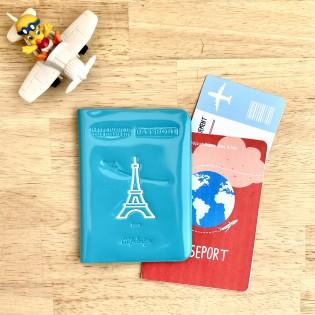 Protège passeport vinyle turquoise