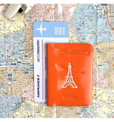 Protège passeport vinyle orange